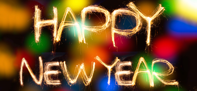 """Happy New Year"" in decorative font."